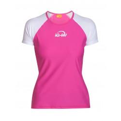 Triko UV 300 loose-fit krátký rukáv bílo/růžové