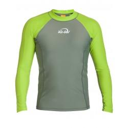 Triko UV 300 slim-fit dlouhý rukáv Olivová/neonově zelená